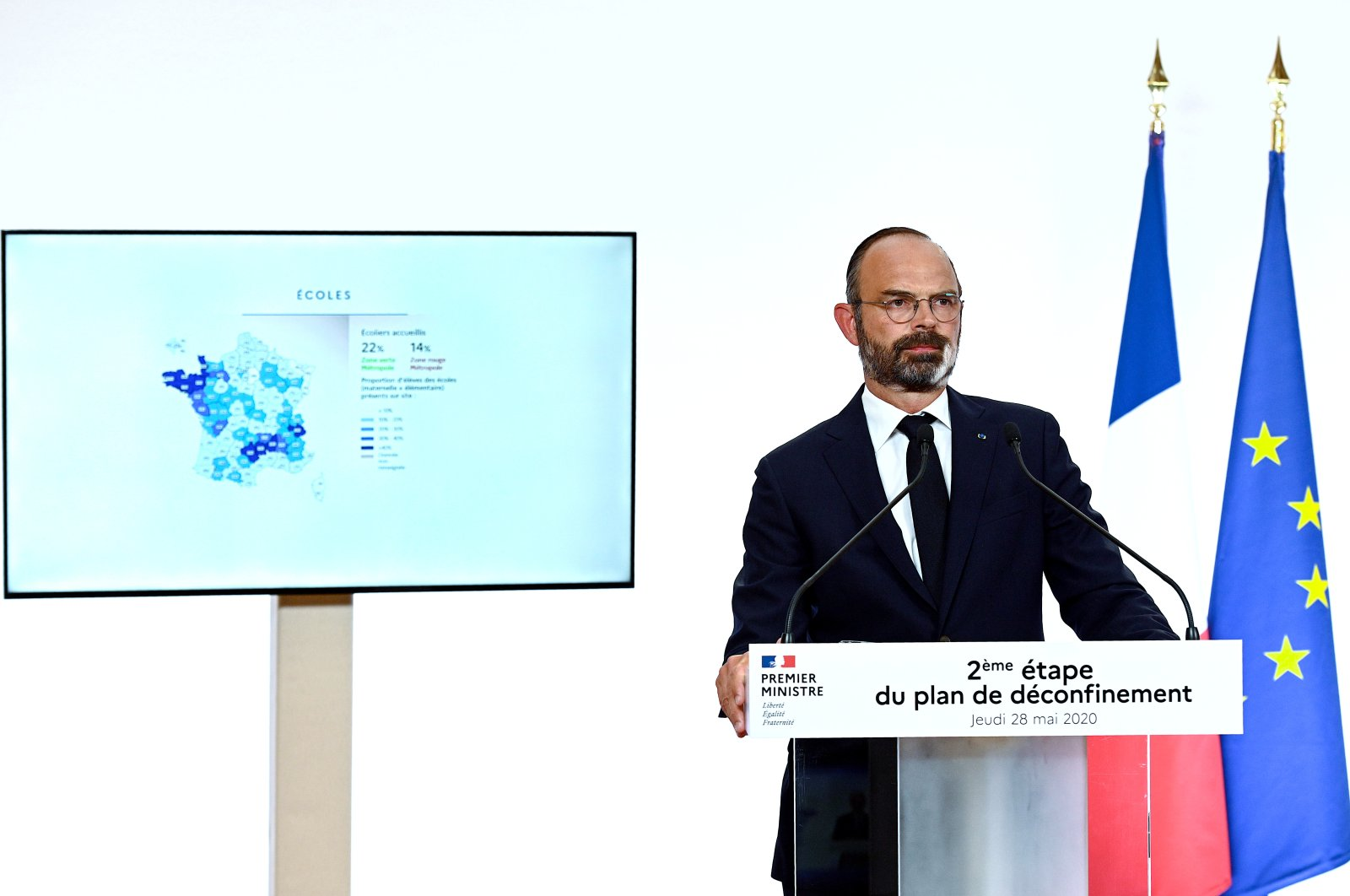 French Prime Minister Edouard Philippe attends a televised address to announce the second phase of the easing of lockdown measures amid the spread of the coronavirus disease (COVID-19) from June 2, at the Hotel Matignon in Paris, France May 28, 2020. (REUTERS Photo)