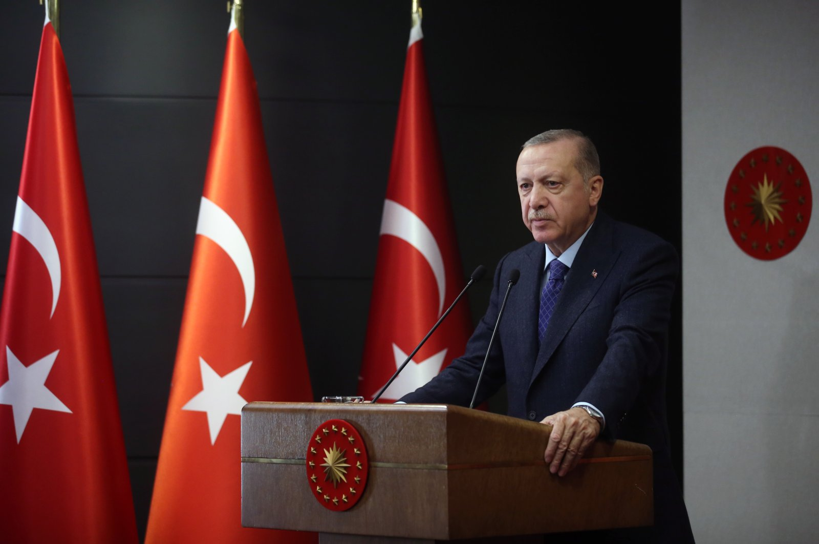 President Recep Tayyip Erdoğan speaks following a weekly cabinet meeting, May 28, 2020. (AA Photo)