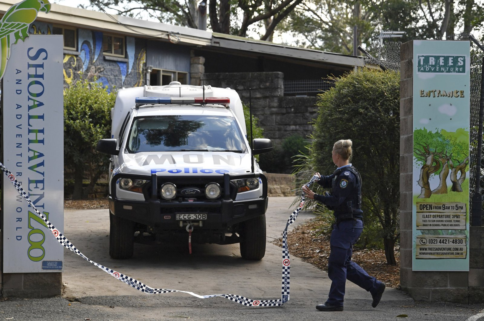 Police work at Shoalhaven Zoo in Nowra, Australia on May, 29, 2020, where an animal keeper was critically injured after being mauled by two lions. (AAP Image via AP)