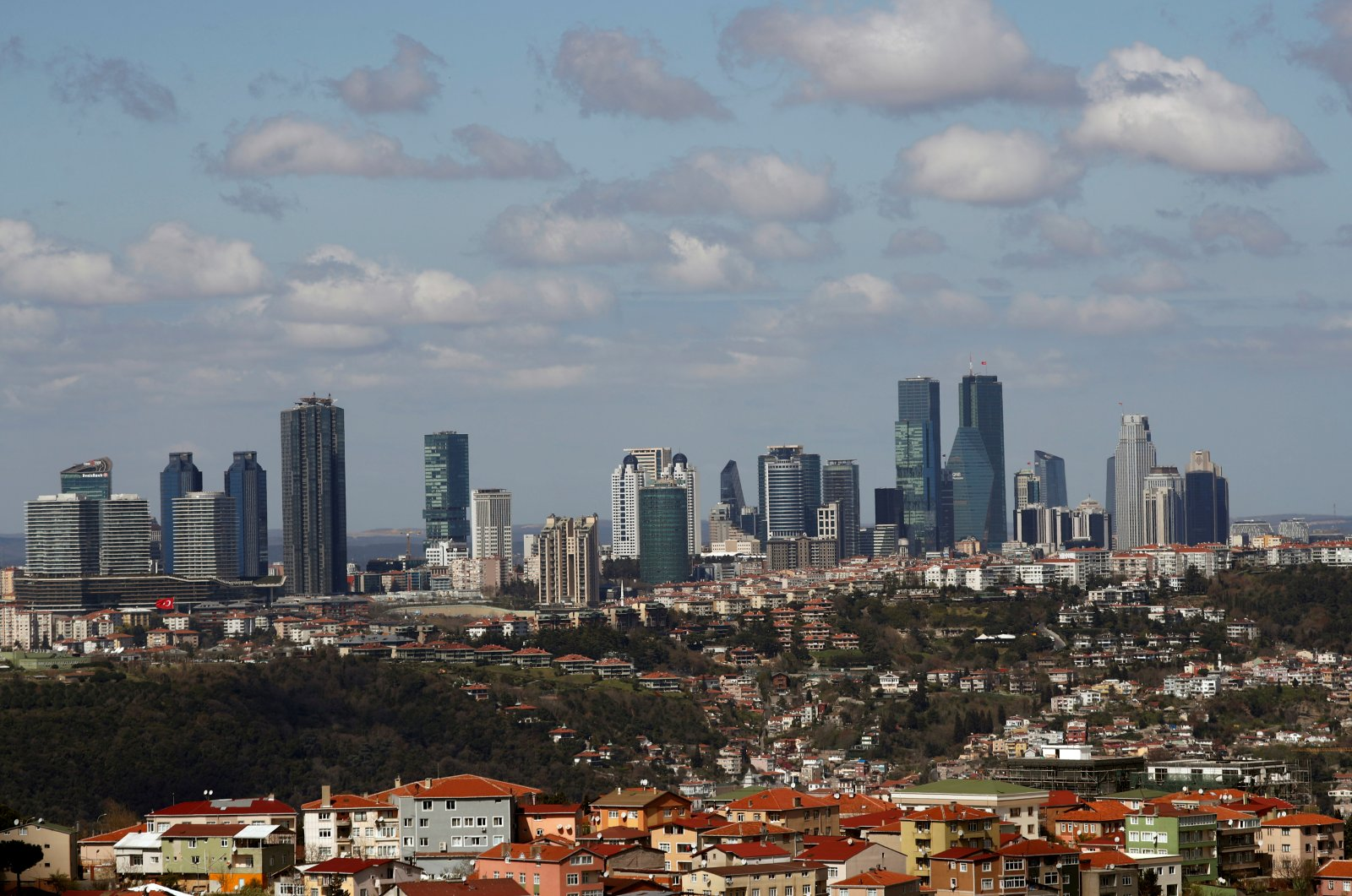 Skyscrapers are seen in the business and financial district of Levent, which comprises of leading banks' and companies' headquarters, Istanbul, Turkey, March 29, 2019. (Reuters Photo)