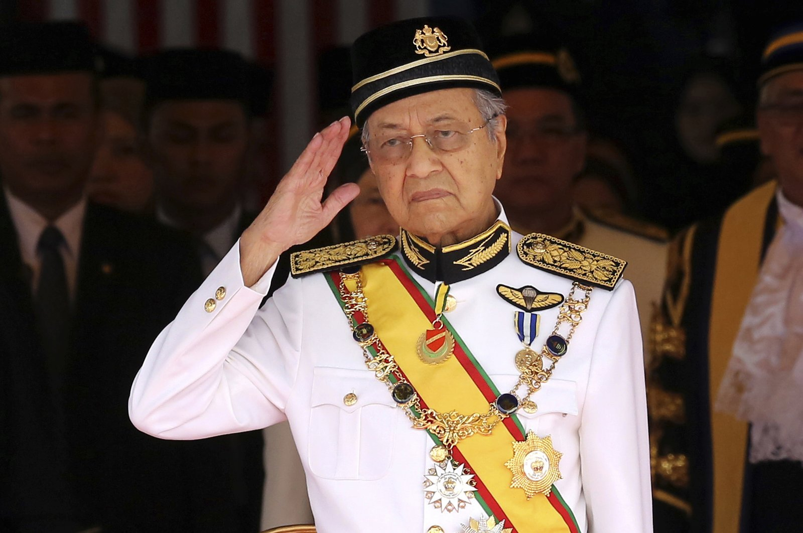 Malaysian ex-Prime Minister Mahathir Mohamad salutes during the opening of the 14th parliament session at the parliament house, Kuala Lumpur, July 17, 2018. (AP Photo)