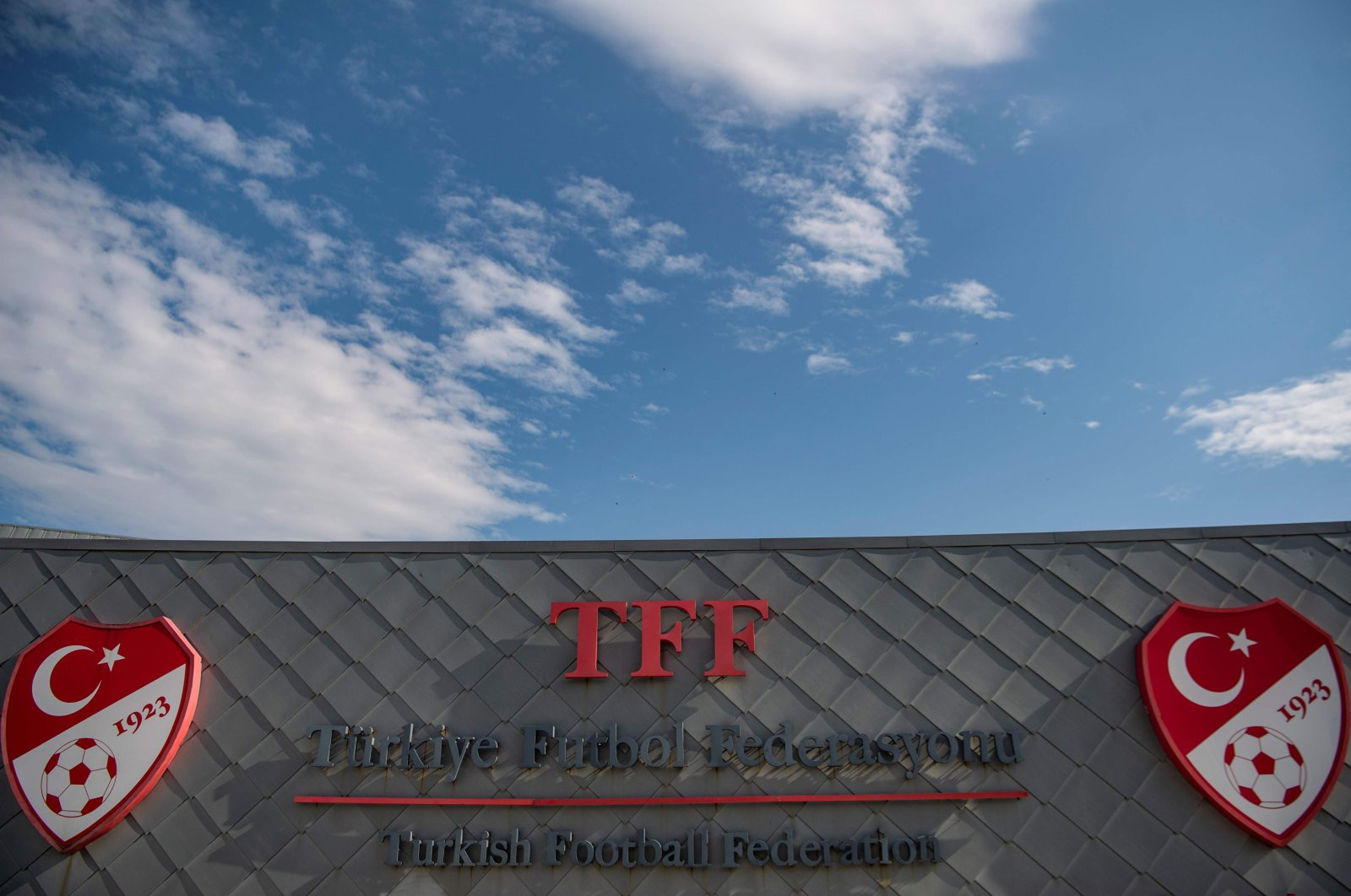 The logo of Turkish Football Federation (TFF) at the entrance of the organization's headquarters in Istanbul, Turkey, May 6, 2020. (AFP Photo)