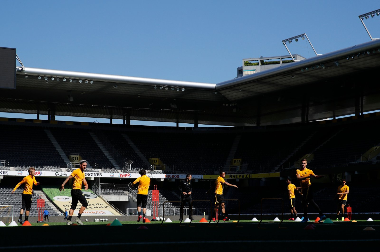 BSC Young Boys' players attend the first training football session following an easing of lockdown rules in Switzerland during the COVID-19 pandemic at the Stade de Suisse stadium in Bern, Switzerland on May 18, 2020. (AFP Photo)