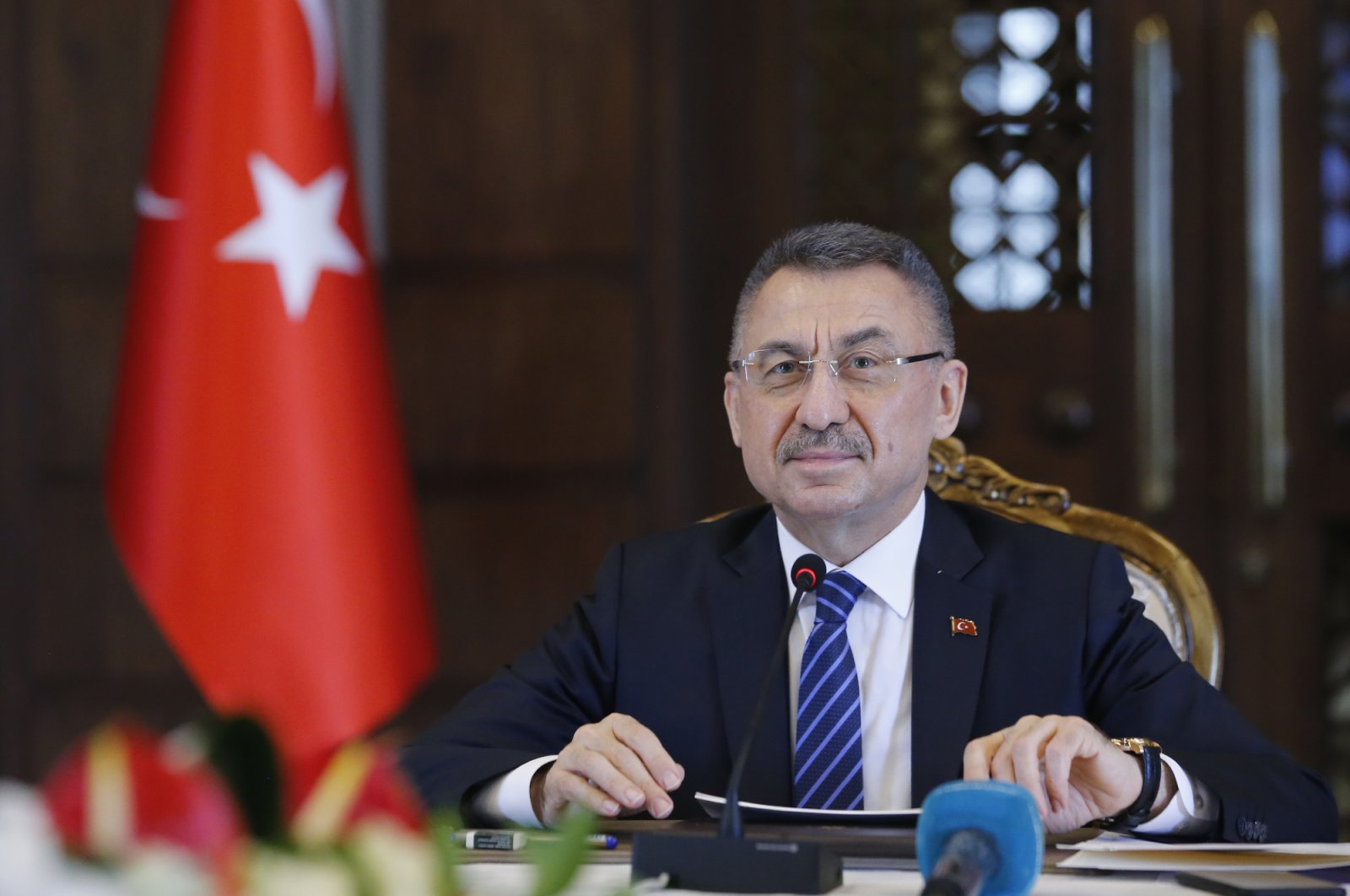 Vice President Fuat Oktay during a videoconference in Ankara, Turkey on May 21, 2020. (AA Photo)