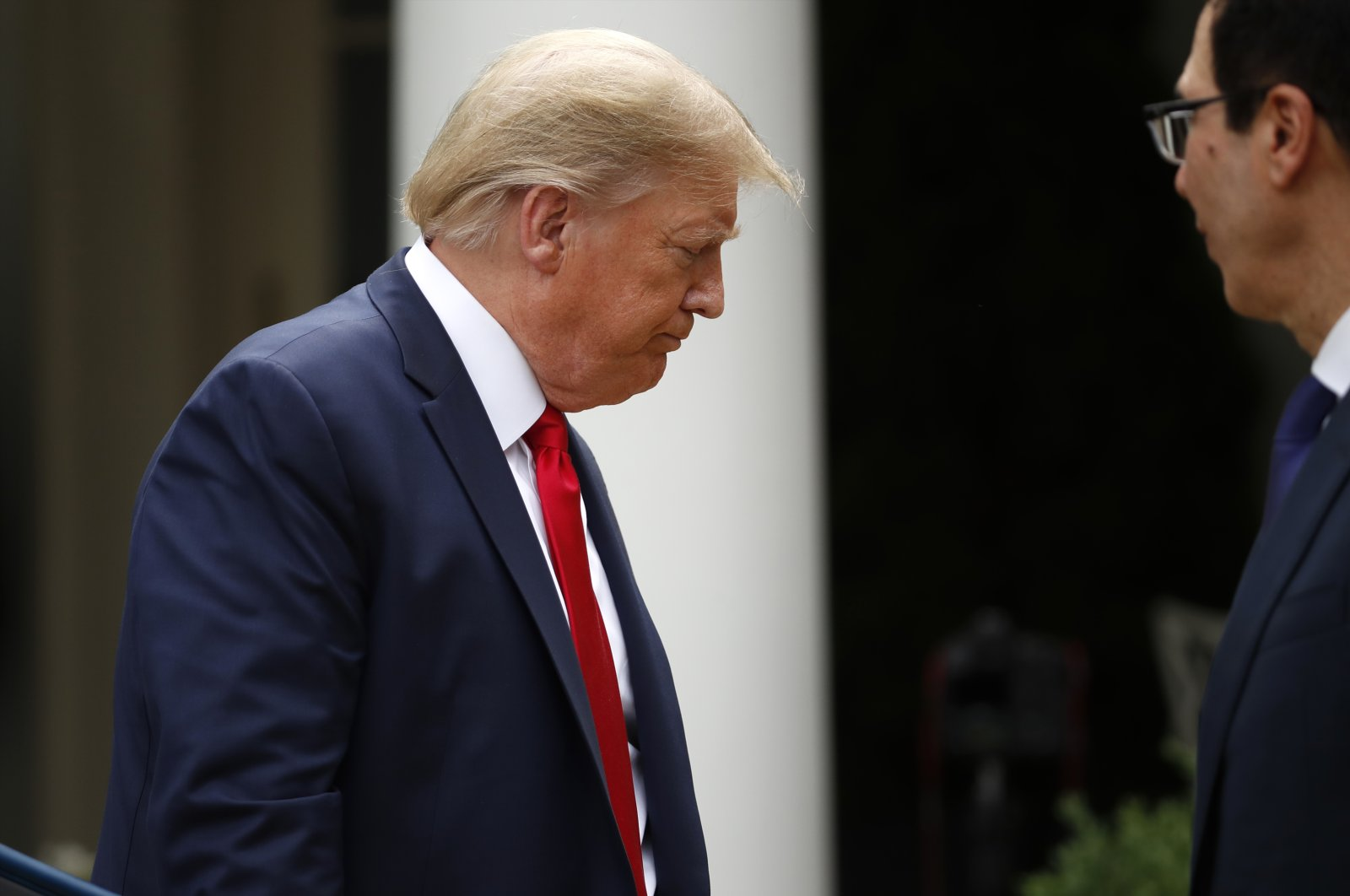 President Donald Trump leaves after speaking in the Rose Garden of the White House in Washington, D.C.,  May 29, 2020. (AP Photo)