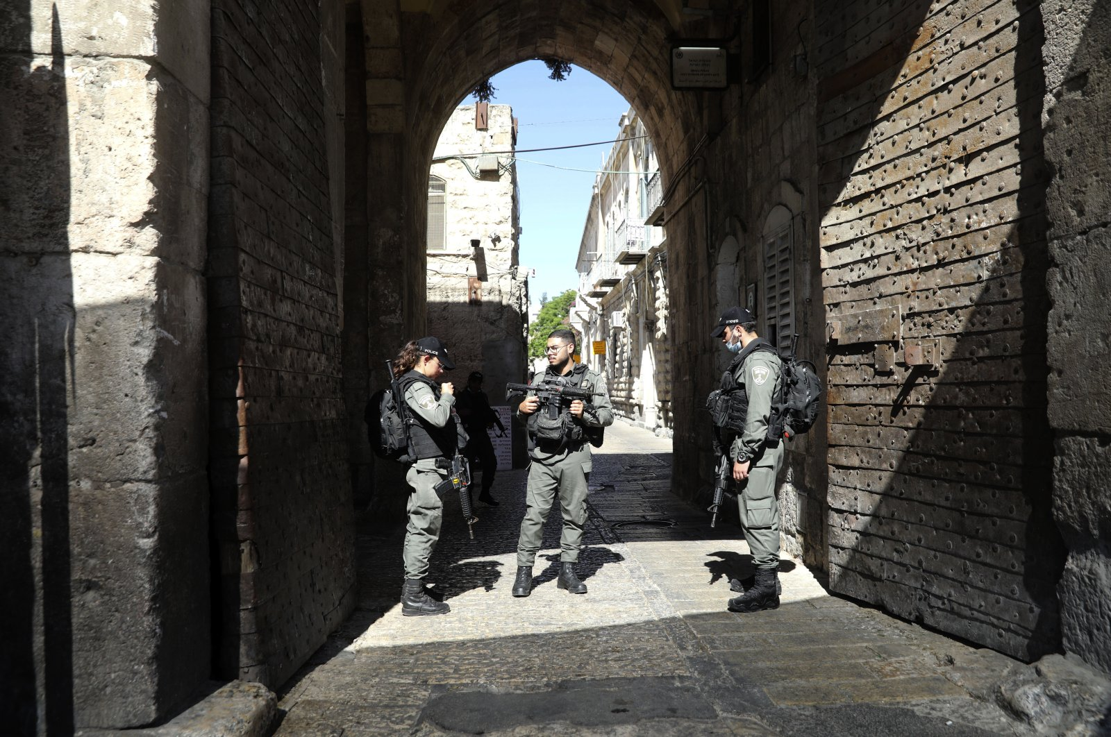 Israeli police officers secure the area of Lion's gate in Jerusalem's Old City, May 30, 2020. (AP Photo)