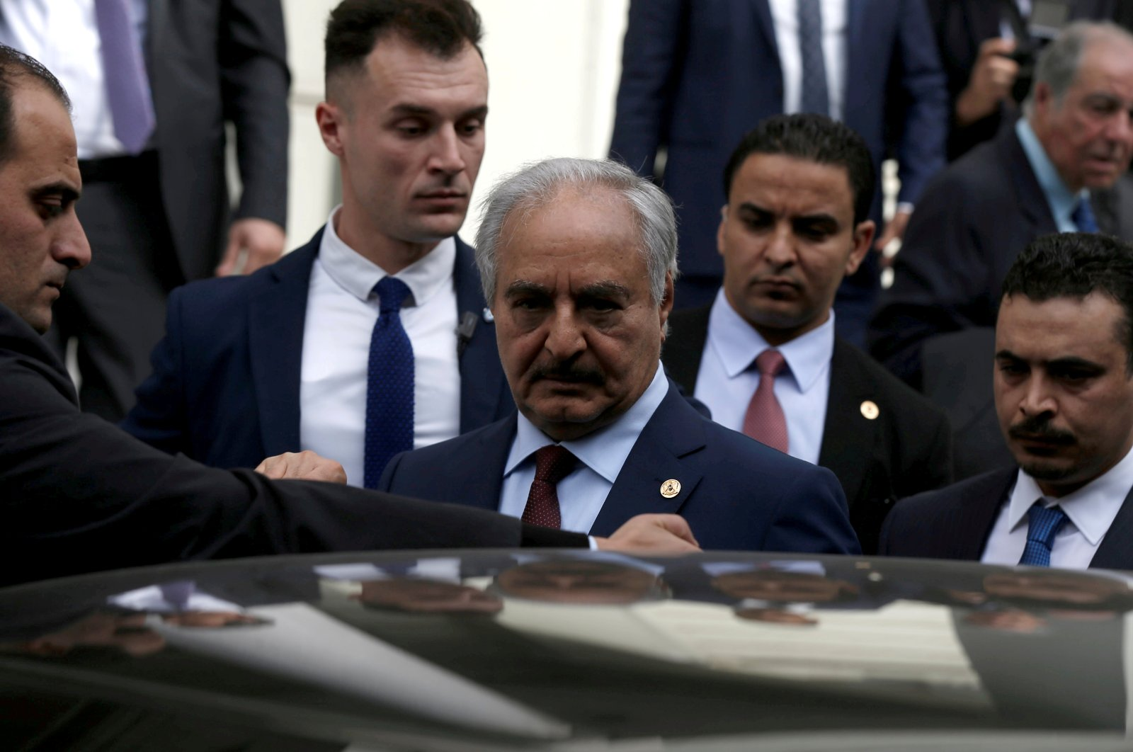 Libya's self-proclaimed Gen. Khalifa Haftar gets into a car after a meeting with Greek Foreign Minister Nikos Dendias at the Foreign Ministry in Athens, Greece, January 17, 2020. (Reuters Photo)