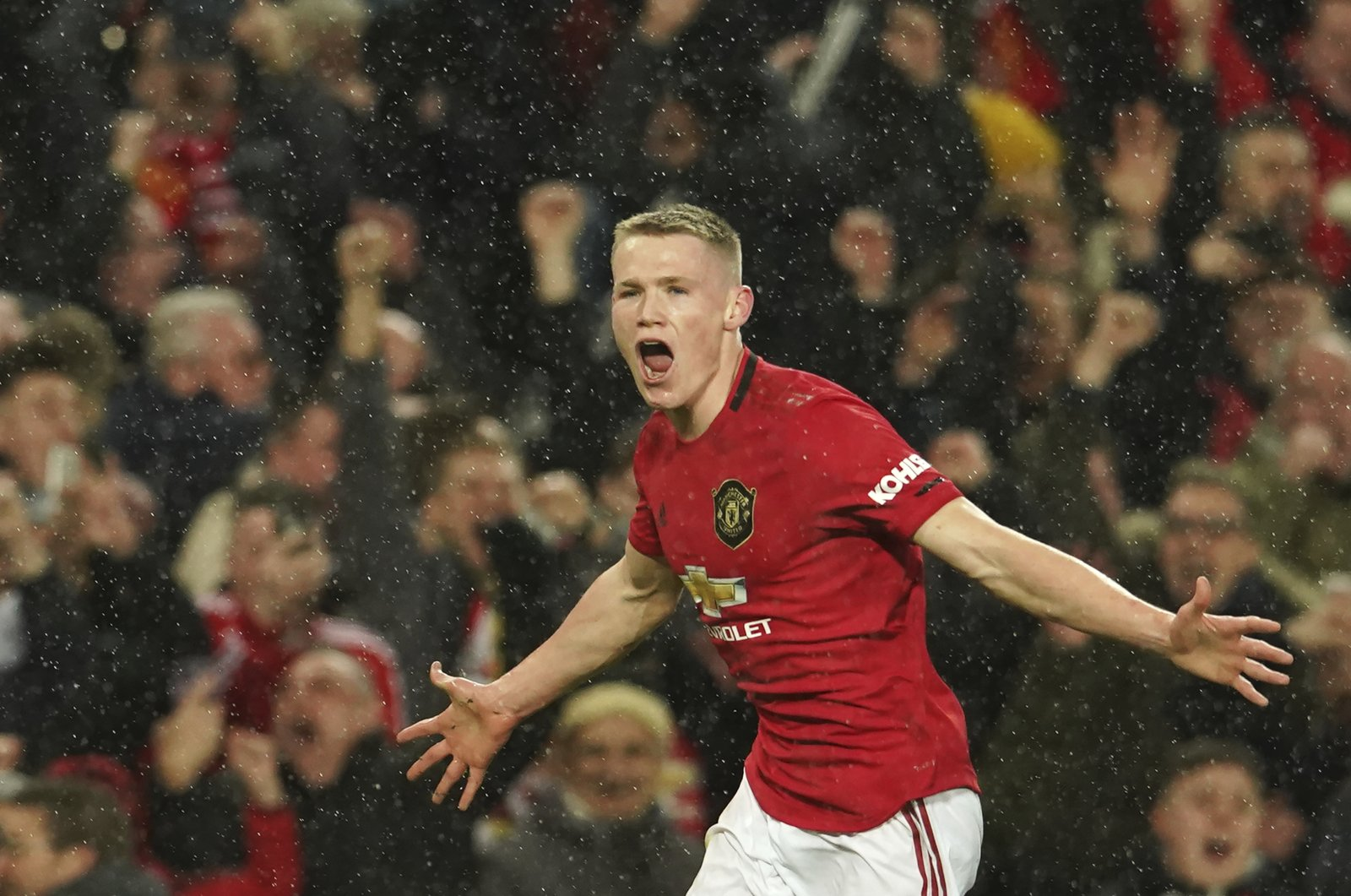 Manchester United's Scott McTominay celebrates a goal during a Premier League match against Manchester City, in Manchester, England, March 8, 2020. (AP Photo)