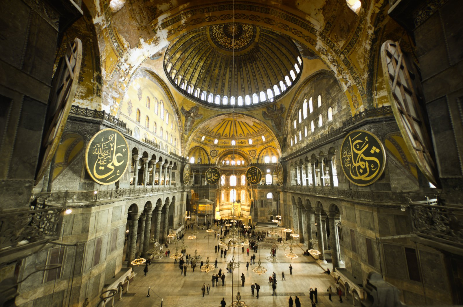 Hagia Sophia indoors captured with a fish-eye lens.