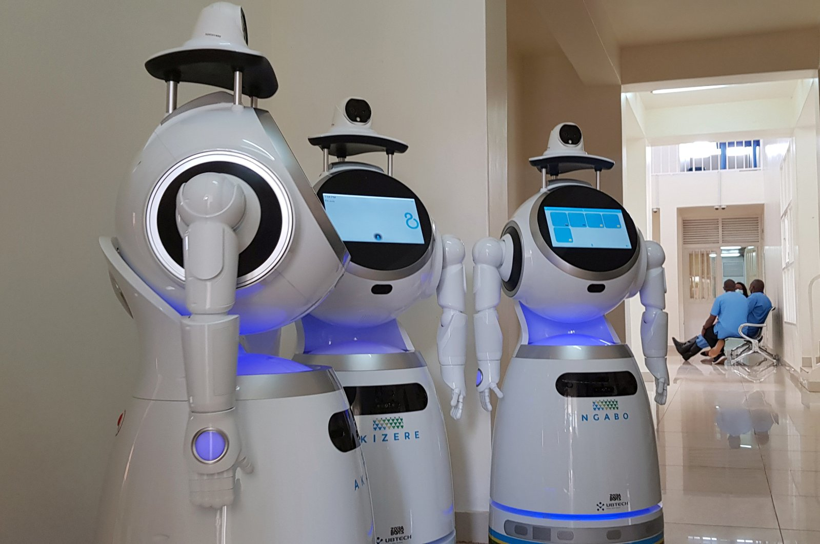 High-tech robots developed by Zora Bots, a Belgium-based company, and donated by the United Nations Development Program (UNDP) are seen during a demonstration at the Kanyinya treatment center that treats COVID-19 patients, in Kigali, Rwanda, May 29, 2020. (REUTERS Photo)