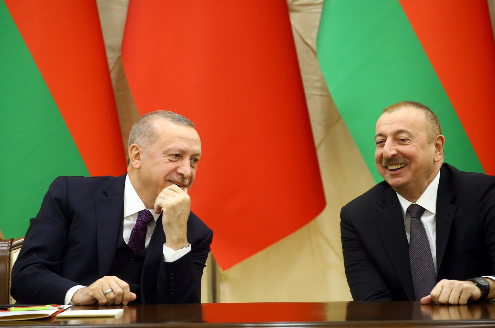 President Recep Tayyip Erdoğan and his Azerbaijani counterpart Ilham Aliyev during a press conference on the eighth meeting of the High-level Strategic Cooperation Council, Baku, Azerbaijan, Feb. 26, 2020. (AA Photo)