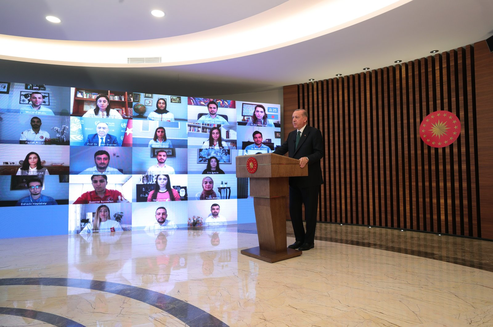 President Recep Tayyip Erdoğan holds a video call with youth anti-tobacco representatives on World No Tobacco Day, May 31, 2020. (IHA Photo)
