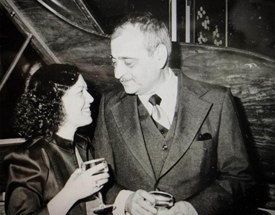 Güngör and Ilhan Mimaroğlu in Manhattan, New York City.