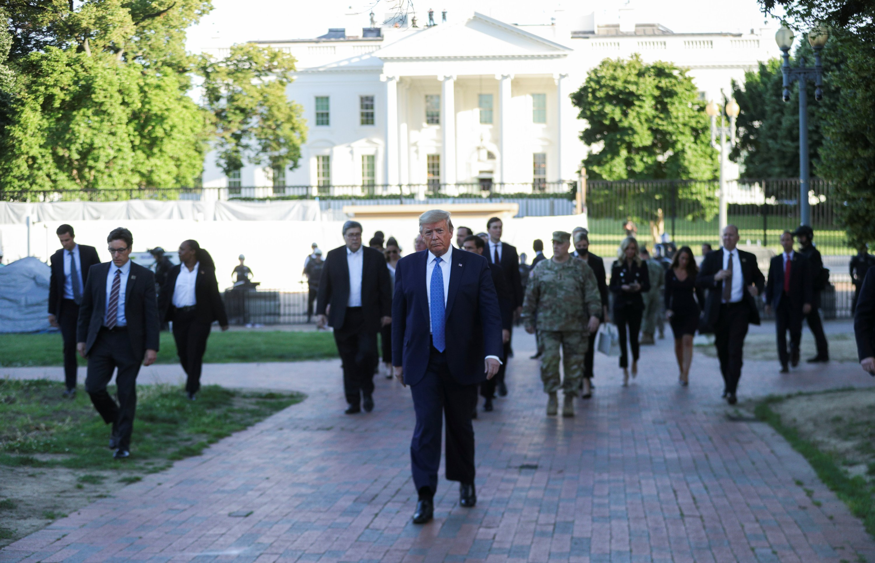 U.S. President Donald Trump walks through Lafayette Park to visit St. John's Episcopal Church across from the White House during ongoing protests over racial inequality in the wake of the death of George Floyd while in Minneapolis police custody, at the White House in Washington, U.S., June 1, 2020. (Reuters Photo)