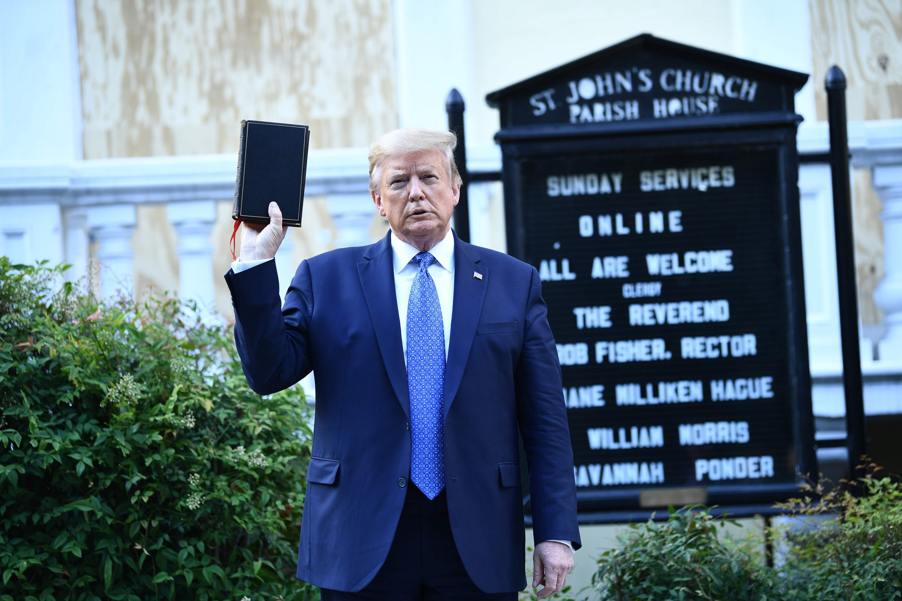 U.S. President Donald Trump holds up a bible in front of St John's Episcopal Church, in Washington, U.S., June 1, 2020. (AFP Photo)