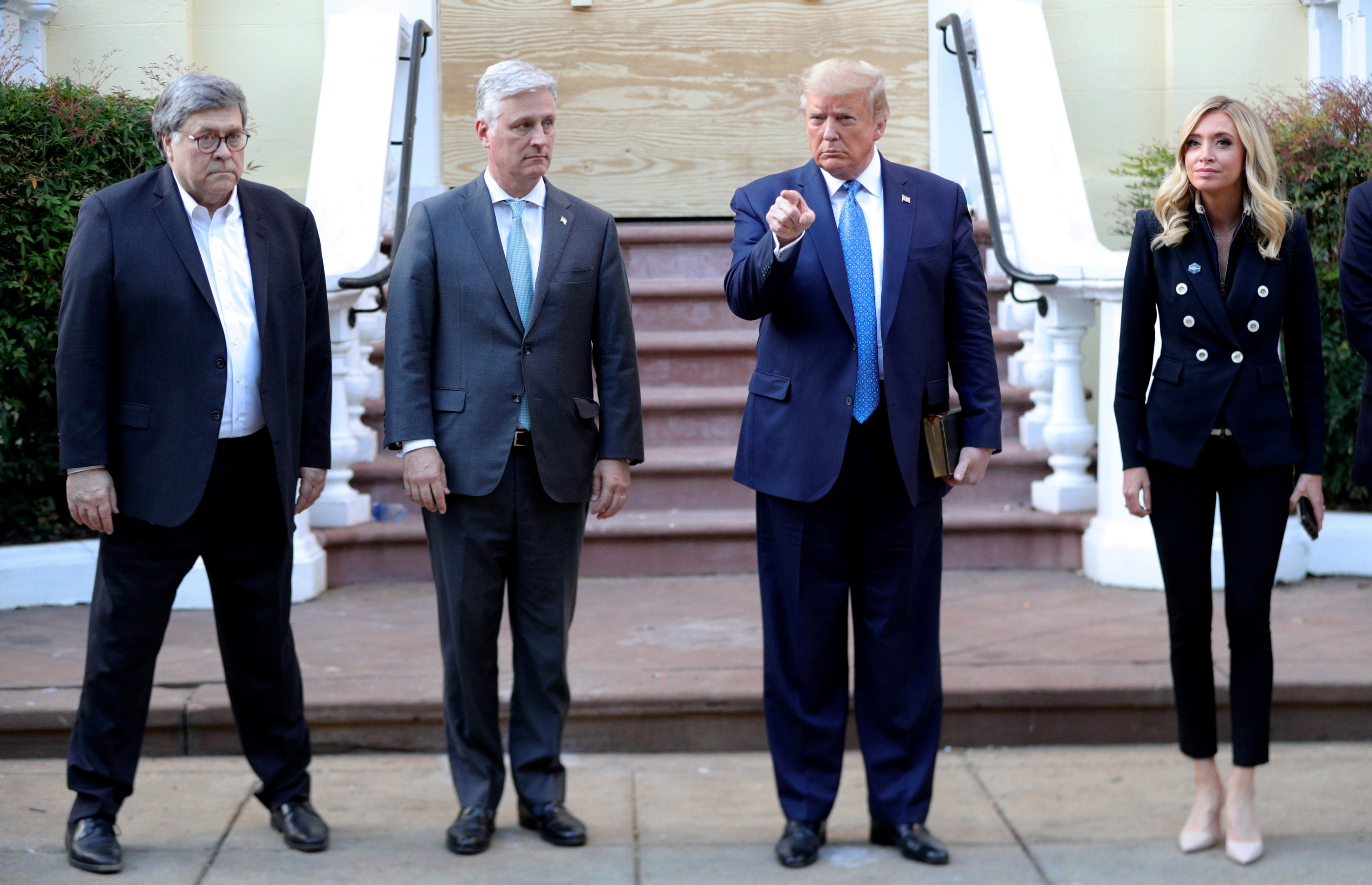 U.S. President Donald Trump stands in front of St. John's Episcopal Church across from the White House with U.S. Attorney General Bill Barr, National Security Advisor Robert O'Brien and White House Press Secretary Kayleigh McEnany after walking there for a photo opportunity in Washington, U.S., June 1, 2020. (Reuters Photo)