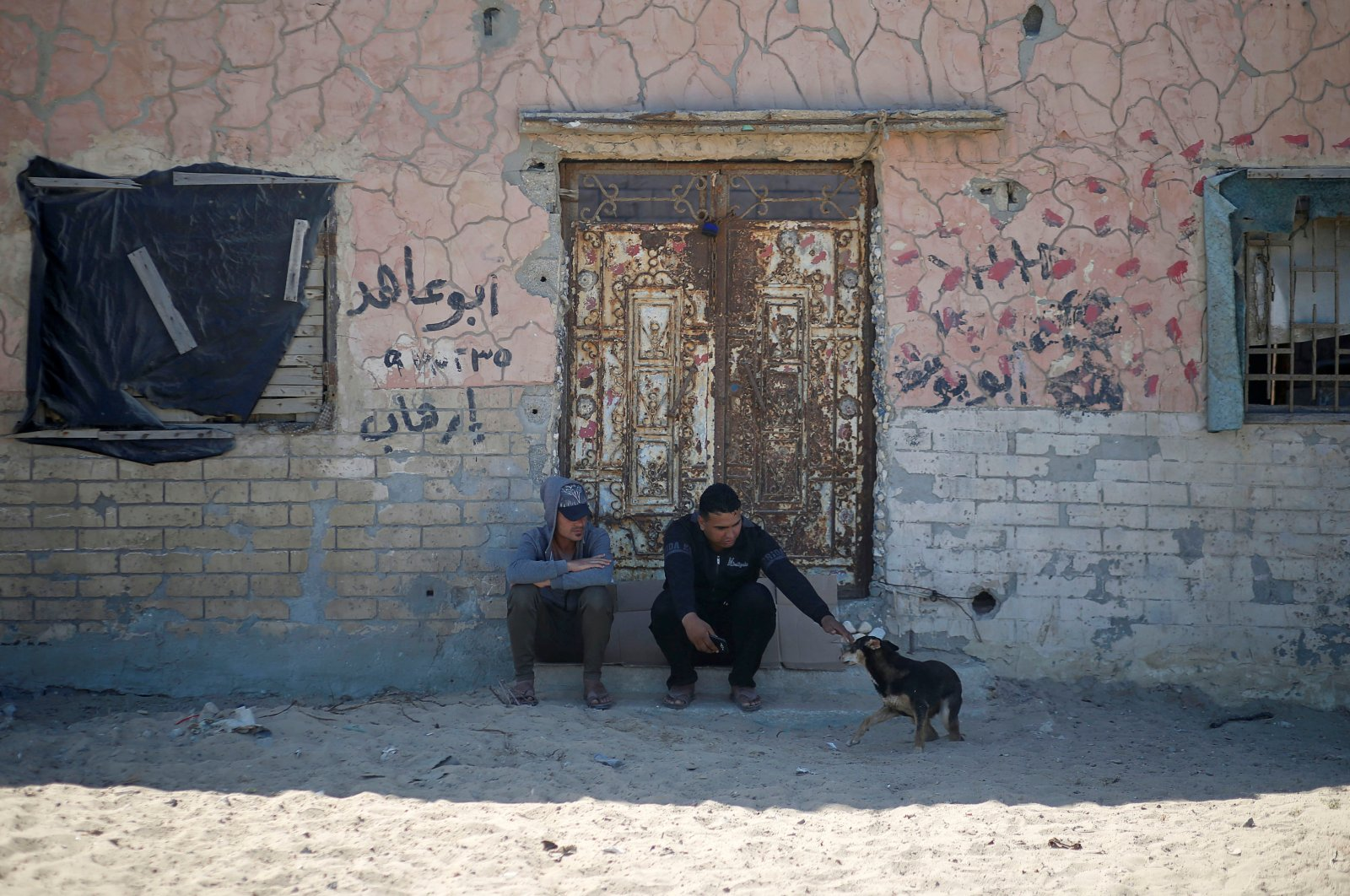 A man sitting on the doorstep of a house plays with a dog at Beach refugee camp, Gaza City, May 30, 2020. (REUTERS Photo)