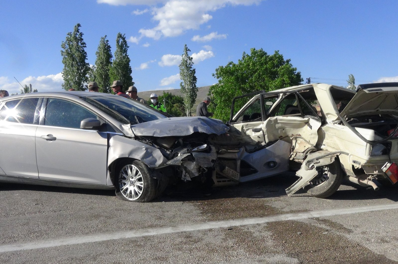 Wreckage of two cars that crashed into each other in Kahramanmaraş, Turkey, May 30, 2020. (İHA Photo)