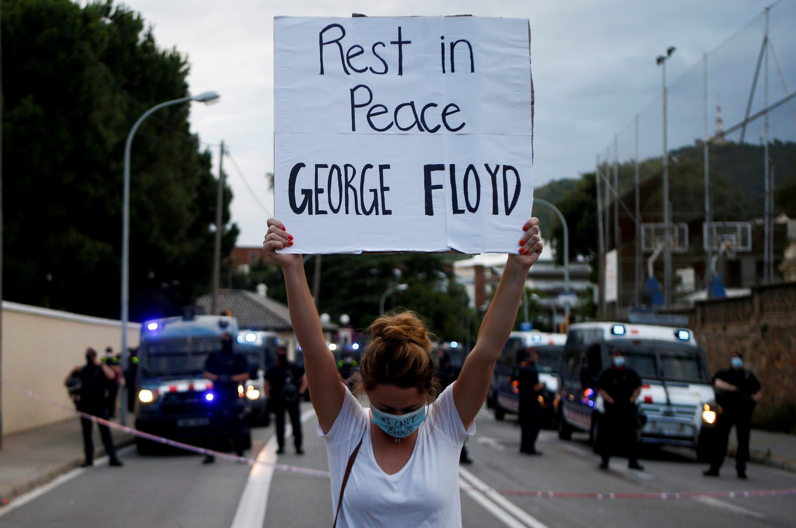 Dozens of people gather outside the U.S. Consulate in Barcelona, Catalonia, northeastern Spain, during a demonstration to protest the death of George Floyd, who died in Minneapolis police custody, June 1, 2020. (EPA Photo)