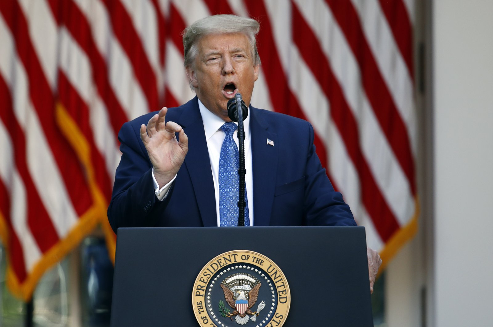 President Donald Trump speaks in the Rose Garden of the White House, Monday, June 1, 2020, in Washington. (AP Photo)