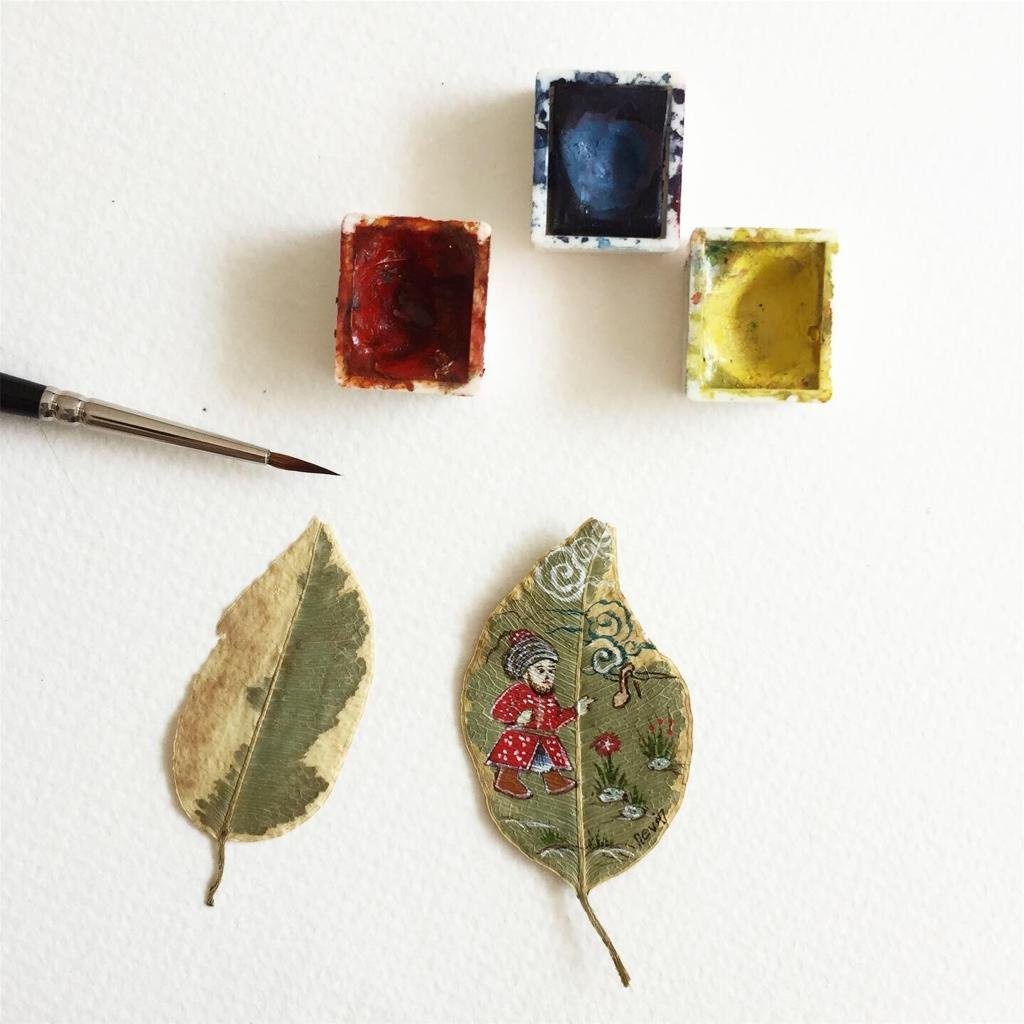 You can draw your miniature on dry, pressed leaves if you have difficulty finding dried orchids. (AA Photo)
