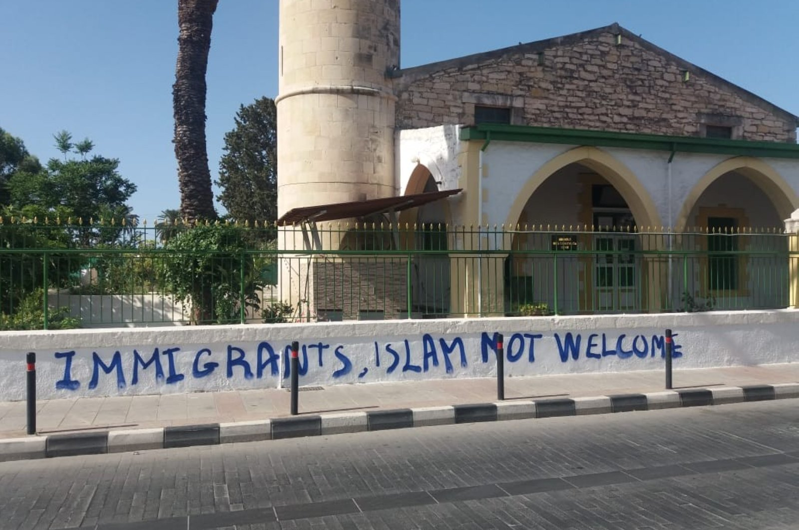 Vandalism on the walls of Köprülü Haci İbrahim Ağa Mosque in the Greek Cypriot-administered province of Limassol, June 1, 2020. (AA Photo)