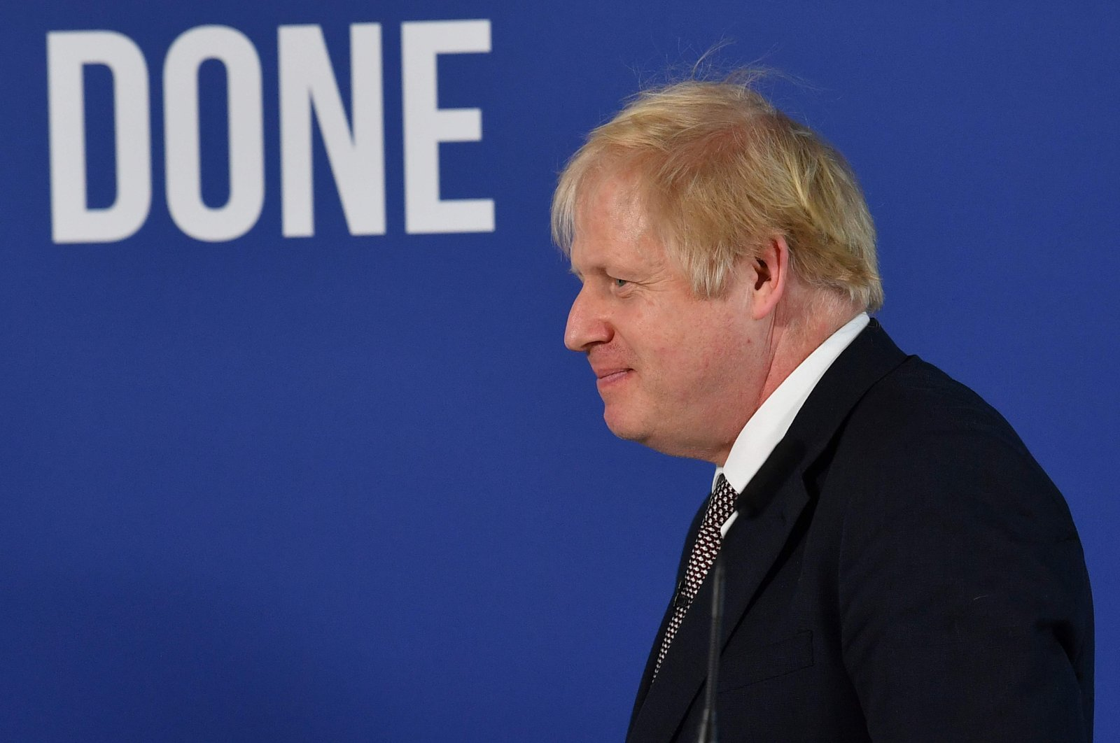 Britain's Prime Minister and Conservative leader Boris Johnson leaves the podium at the end of a press conference, London, Nov. 29, 2019. (AFP Photo)