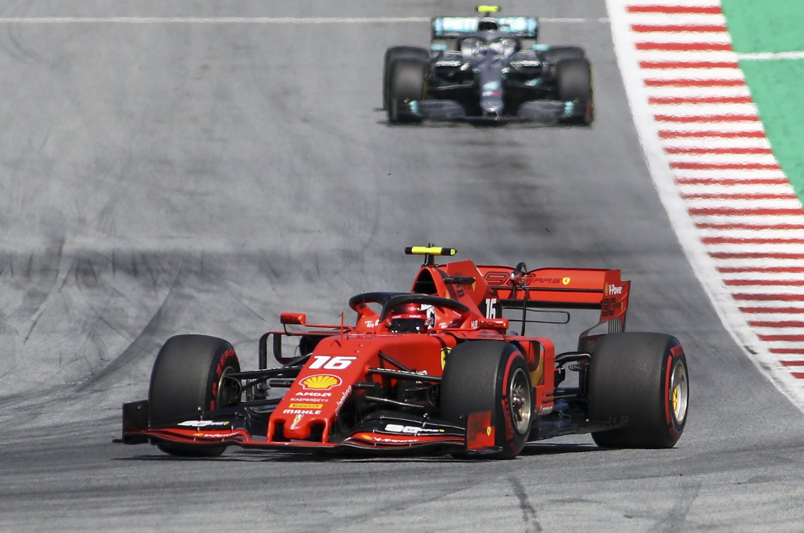 Ferrari driver Charles Leclerc of Monaco leads during the Austrian Formula One Grand Prix at the Red Bull Ring racetrack in Spielberg, Austria, June 30, 2019. (AP Photo)