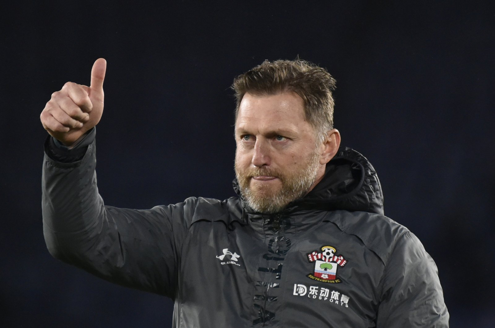 Southampton's manager Ralph Hasenhuettl gestures during a Premier League match in Leicester, England, Jan. 11, 2020. (AP Photo)