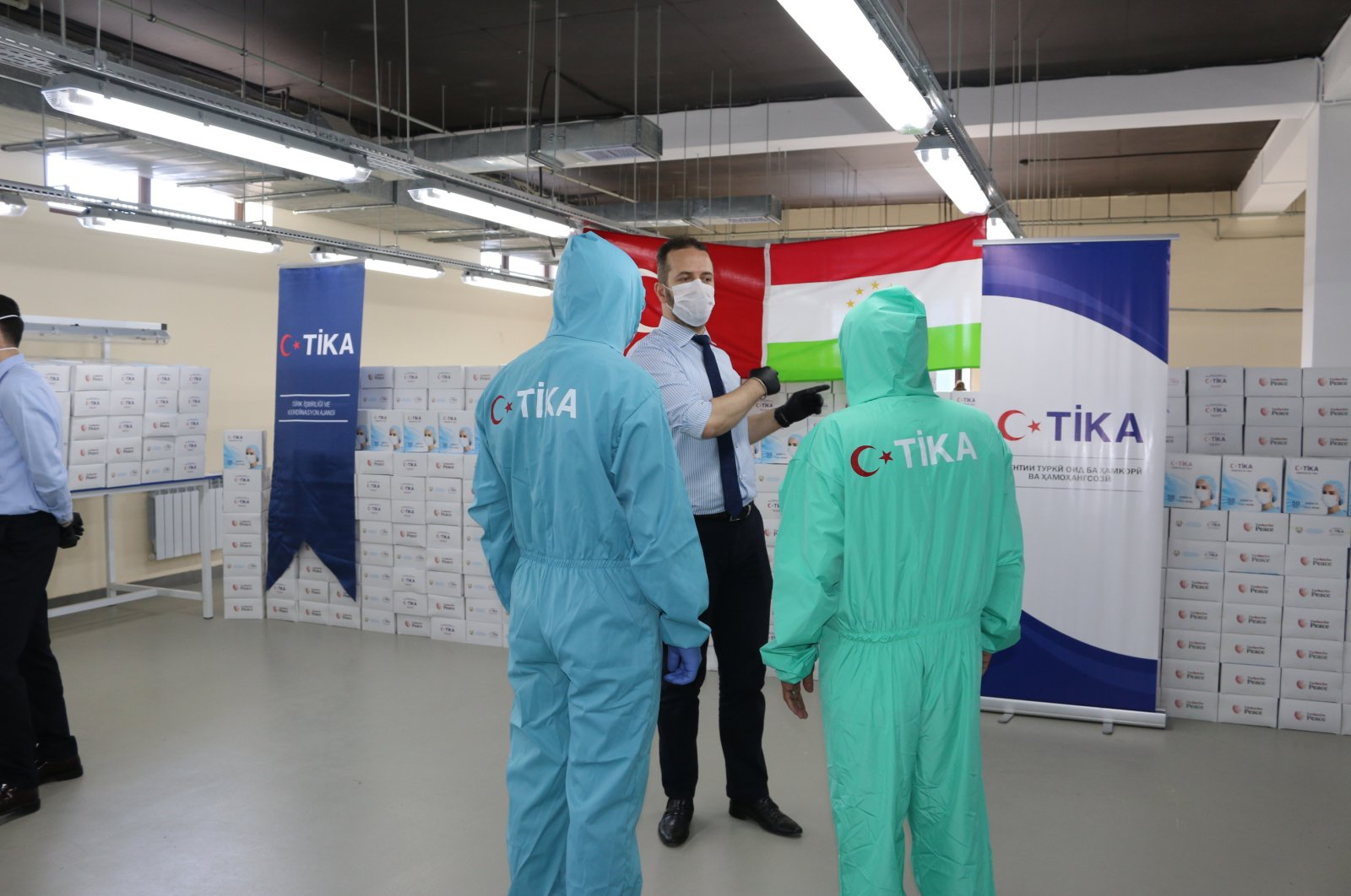 The Turkish Cooperation and Coordination Agency (TIKA) delivers medical aid to Tajikistan to fight the coronavirus pandemic, June 2, 2020. (AA Photo)