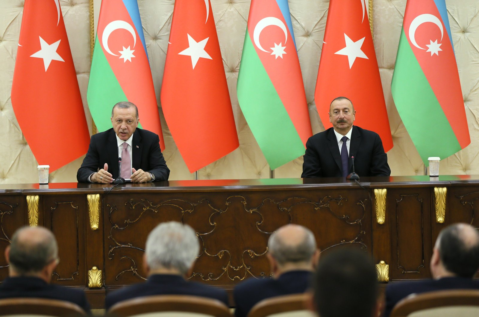 President Recep Tayyip Erdoğan attends joint news conference with Azeri counterpart İlham Aliyev in Baku on July 11, 2018 (AA File Photo)