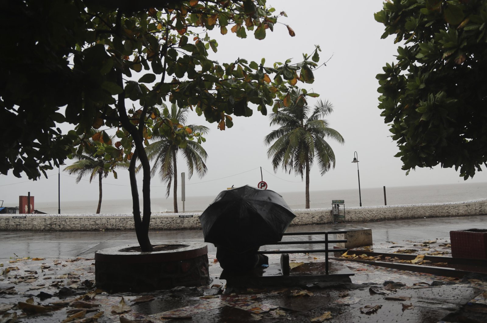 A man sits on a bench as it rains by the shores of the Arabian Sea in Mumbai, India, June 3, 2020. (AP Photo)