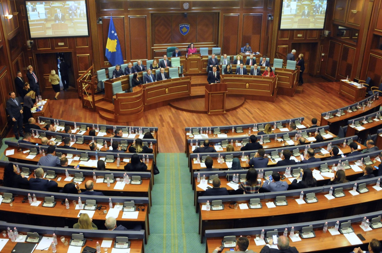 Newly elected Prime Minister of Kosovo Albin Kurti delivers his speech during a parliament session in Pristina, Kosovo, Feb. 3, 2020. (Reuters Photo)