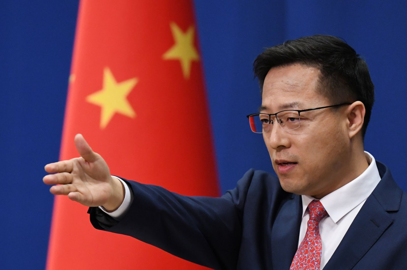 Chinese Foreign Ministry spokesman Zhao Lijian takes a question at a daily media briefing, Beijing, April 8, 2020. (AFP Photo)