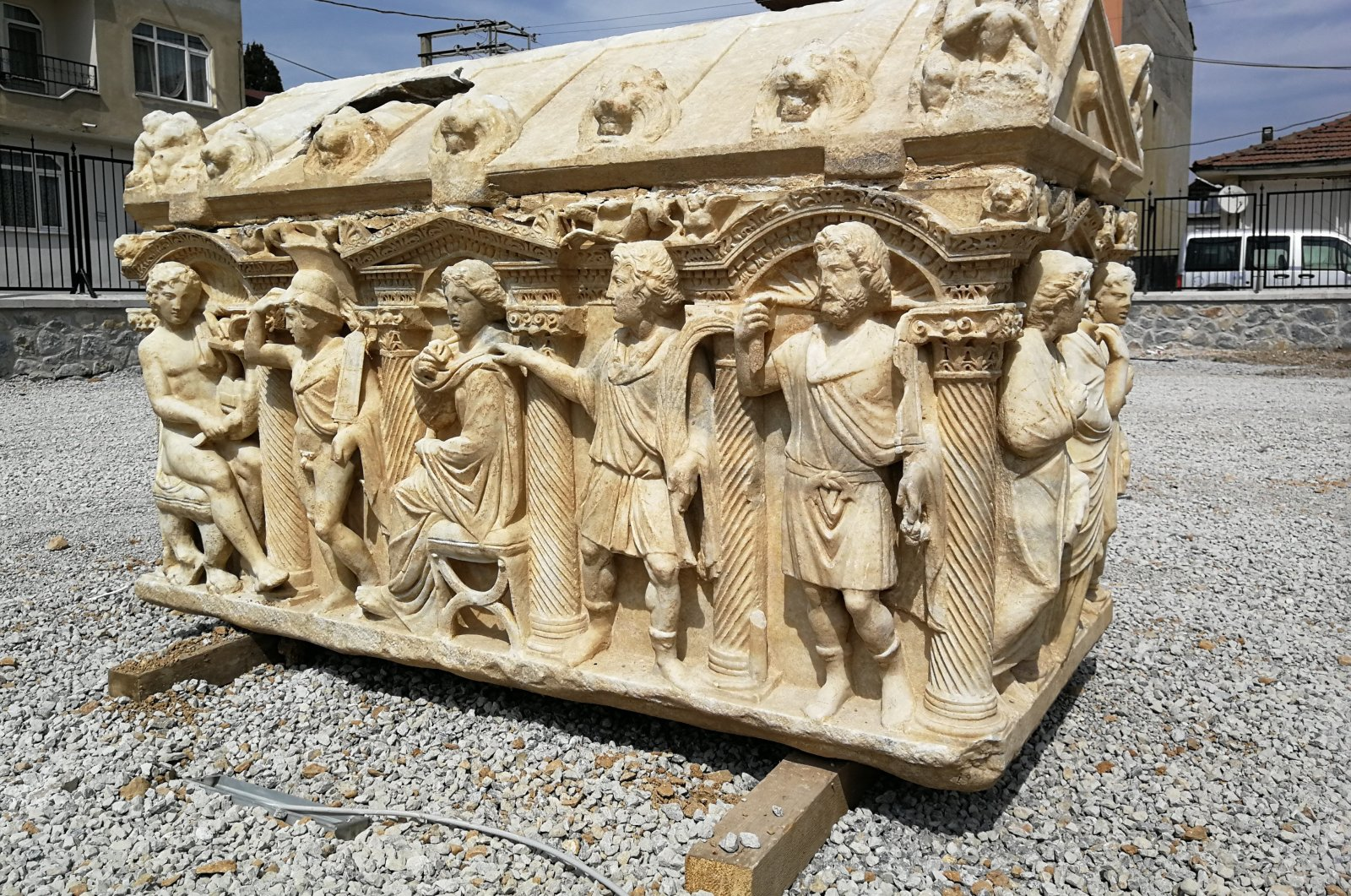 The sarcophagus was found in an olive field in Bursa province's Iznik district in 2015. (İHA PHOTO)