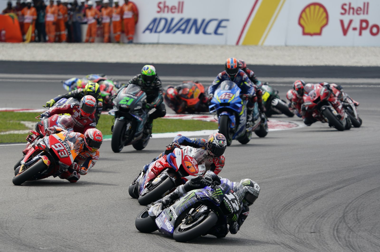 Maverick Vinales in the lead during the Malaysia GP in Sepang, Malaysia, Nov. 3, 2019. (AP Photo)