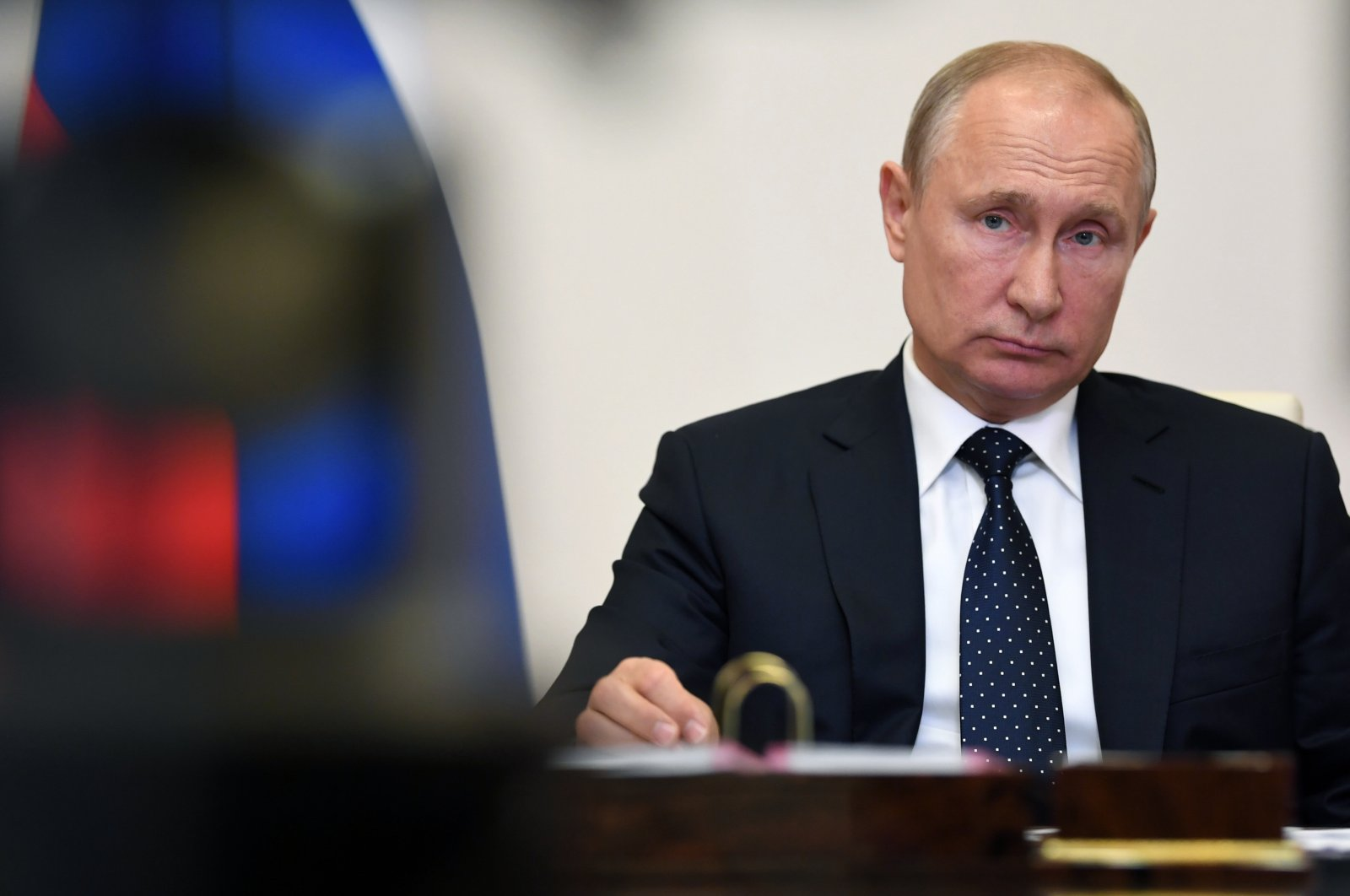 Russian President Vladimir Putin attends a meeting of the Supreme Eurasian Economic Council via teleconference at the Novo-Ogaryovo residence outside Moscow, Russia, May 19, 2020. (Kremlin Pool Photo via AP)