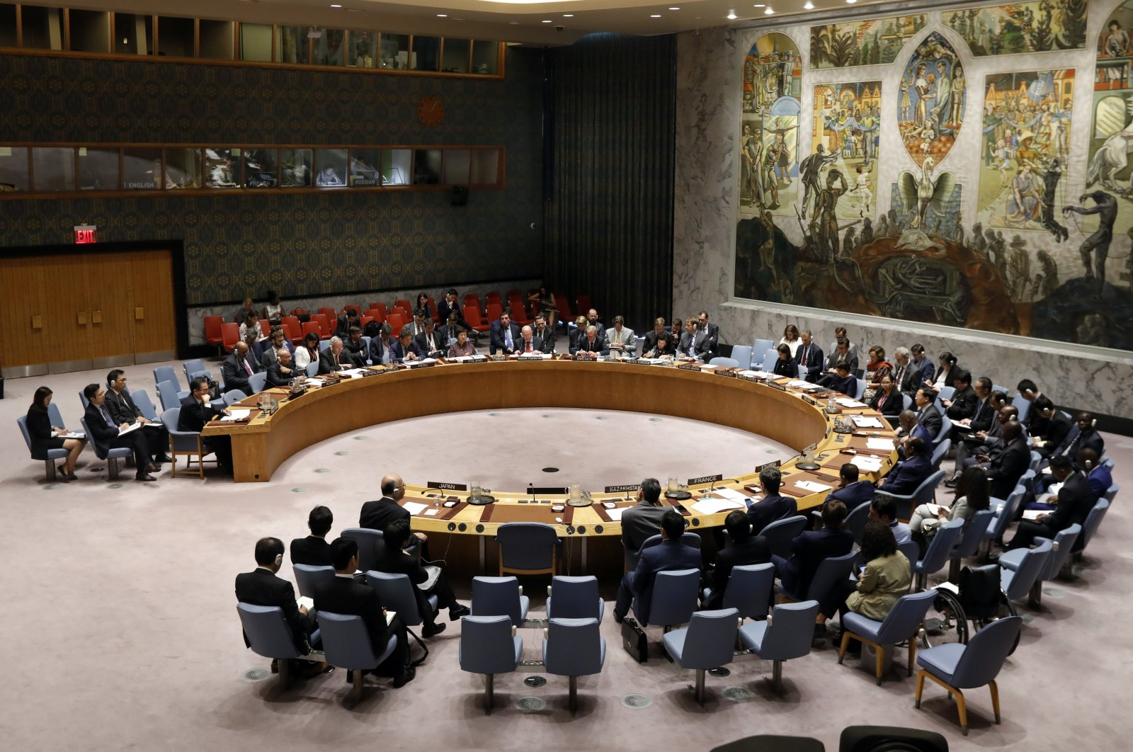 The U.N. Security Council meets at the U.N. headquarters in New York City, New York, U.S., Sept. 17, 2018. (AP Photo)