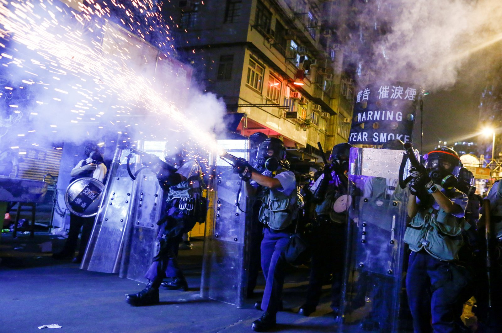 Police fire tear gas at anti-extradition bill protesters during clashes in Hong Kong, China, Aug. 14, 2019. (Reuters Photo)