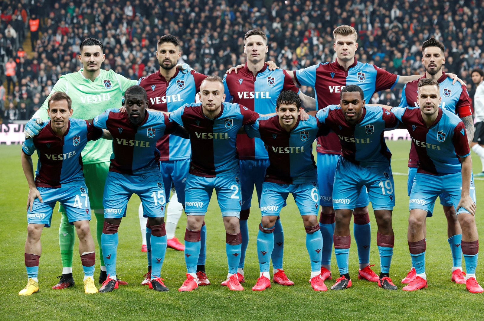 Trabzonspor players pose for a team photo, Vodafone Arena, Istanbul, Turkey, Feb. 22, 2020. (REUTERS Photo)