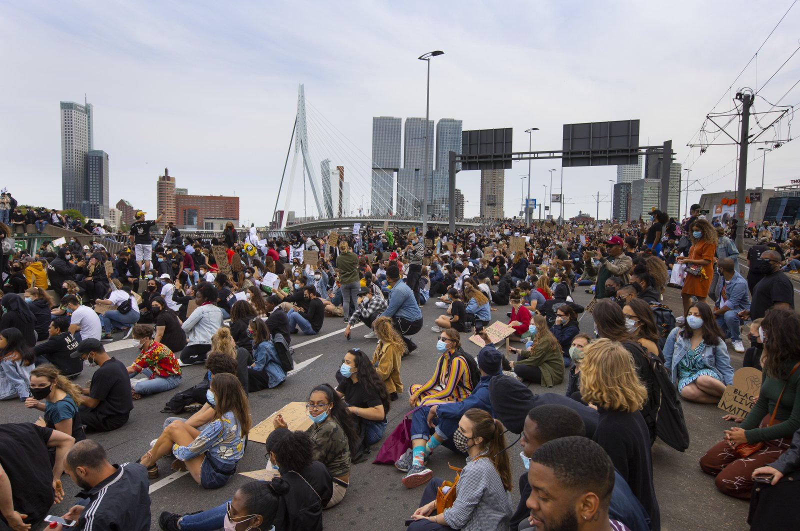 Thousands of people take part in a demonstration, Rotterdam, June 3, 2020. (AP Photo)