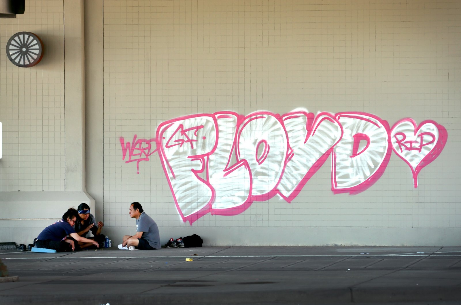 Graffiti remains on the wall of an underpass following last week's rioting on June 3, 2020, in Minneapolis, Minnesota. (AFP Photo)