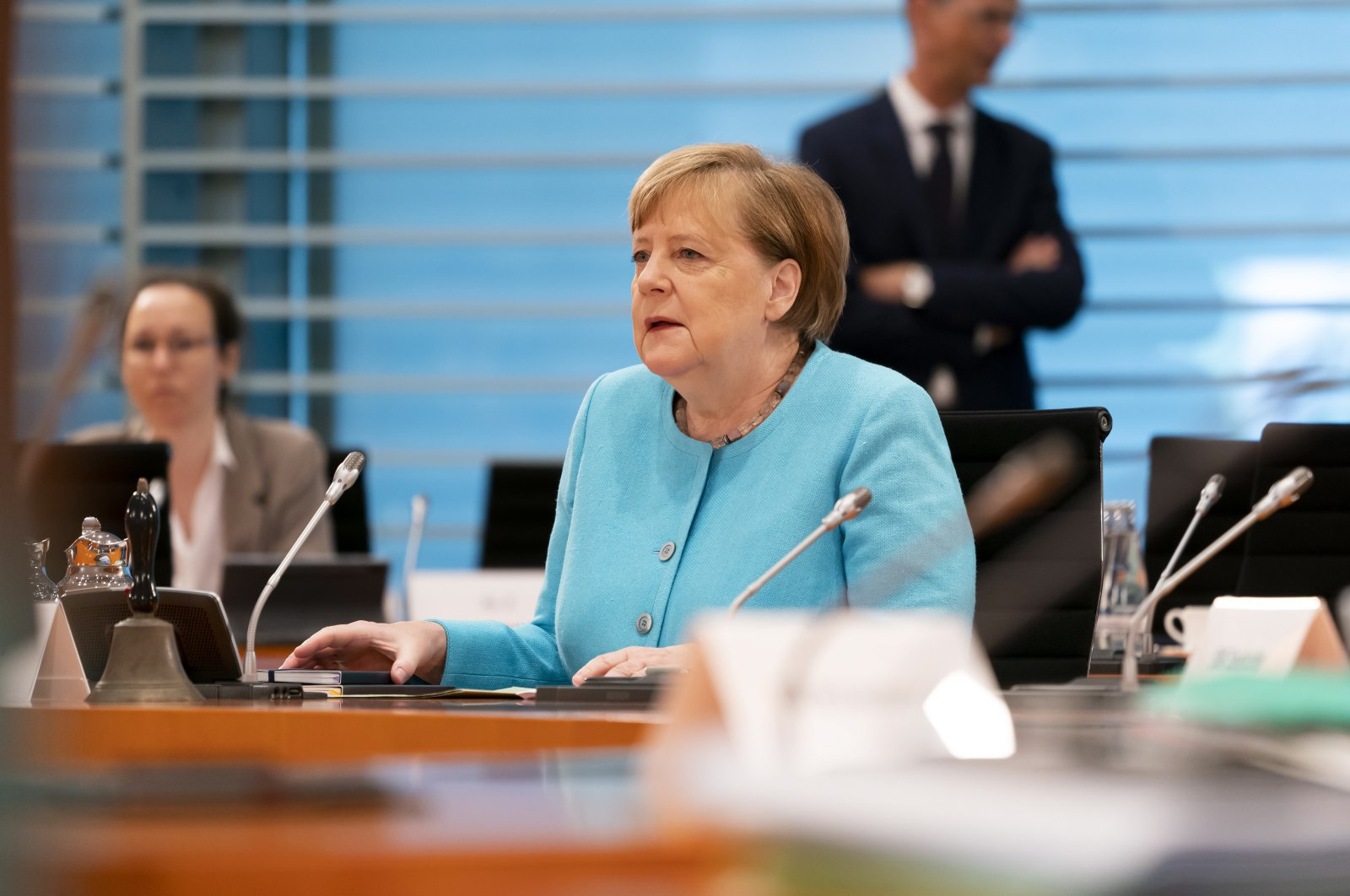 German Chancellor Angela Merkel attends the weekly meeting of the German Federal Cabinet, Berlin, June 3, 2020. (EPA Photo)