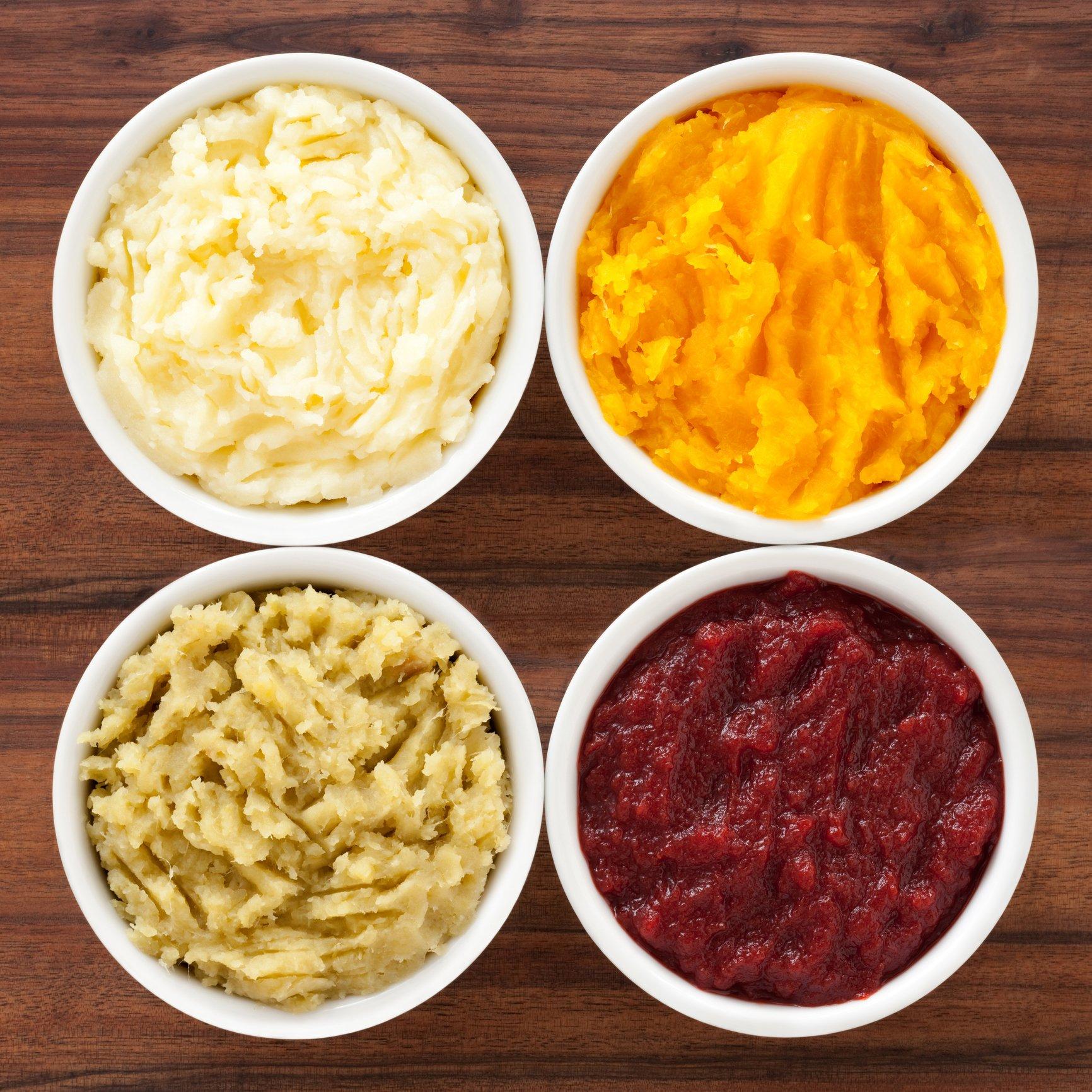 From top left, clockwise: Potato, sweet potato, beet and squash mash. (iStock Photo)
