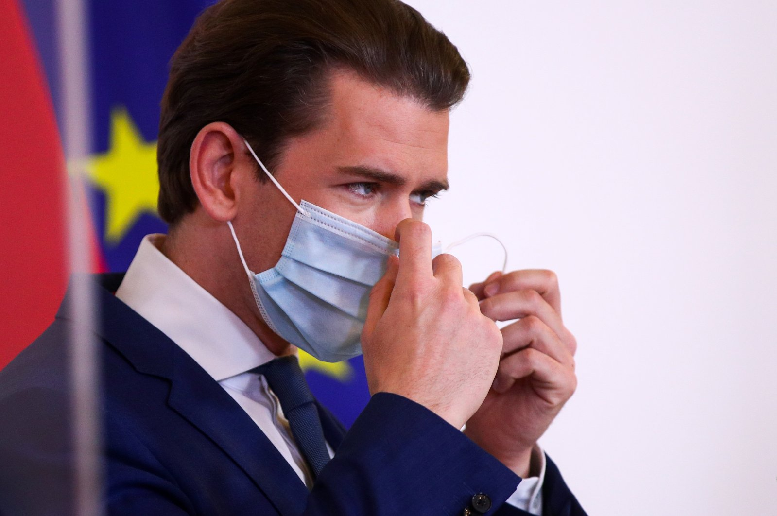 Austrian Chancellor Sebastian Kurz removes his face mask as he attends a news conference during the coronavirus outbreak in Vienna, Austria, May 29, 2020. (Reuters Photo)