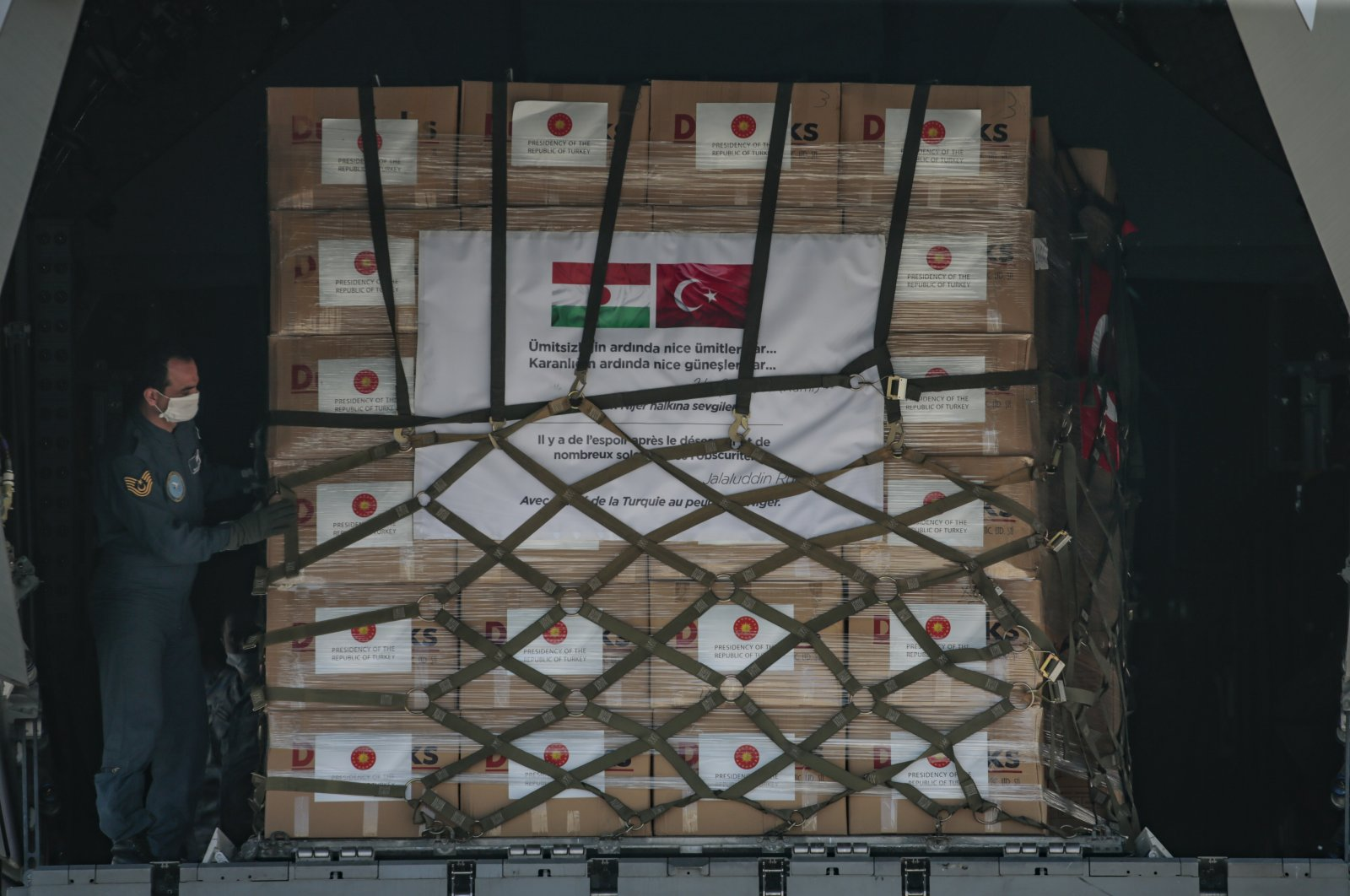 A Turkish military cargo plane carrying medical equipment departed for Niger, June 4, 2020. (AA Photo)