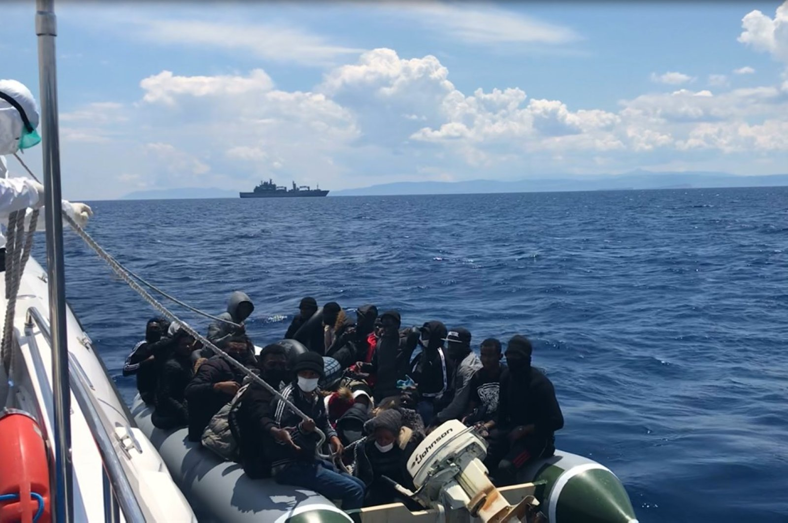 Turkish Coast Guard rescued 85 migrants and refugees who were pushed back by Greek forces into Turkish territorial waters, June 4, 2020. (AA Photo)