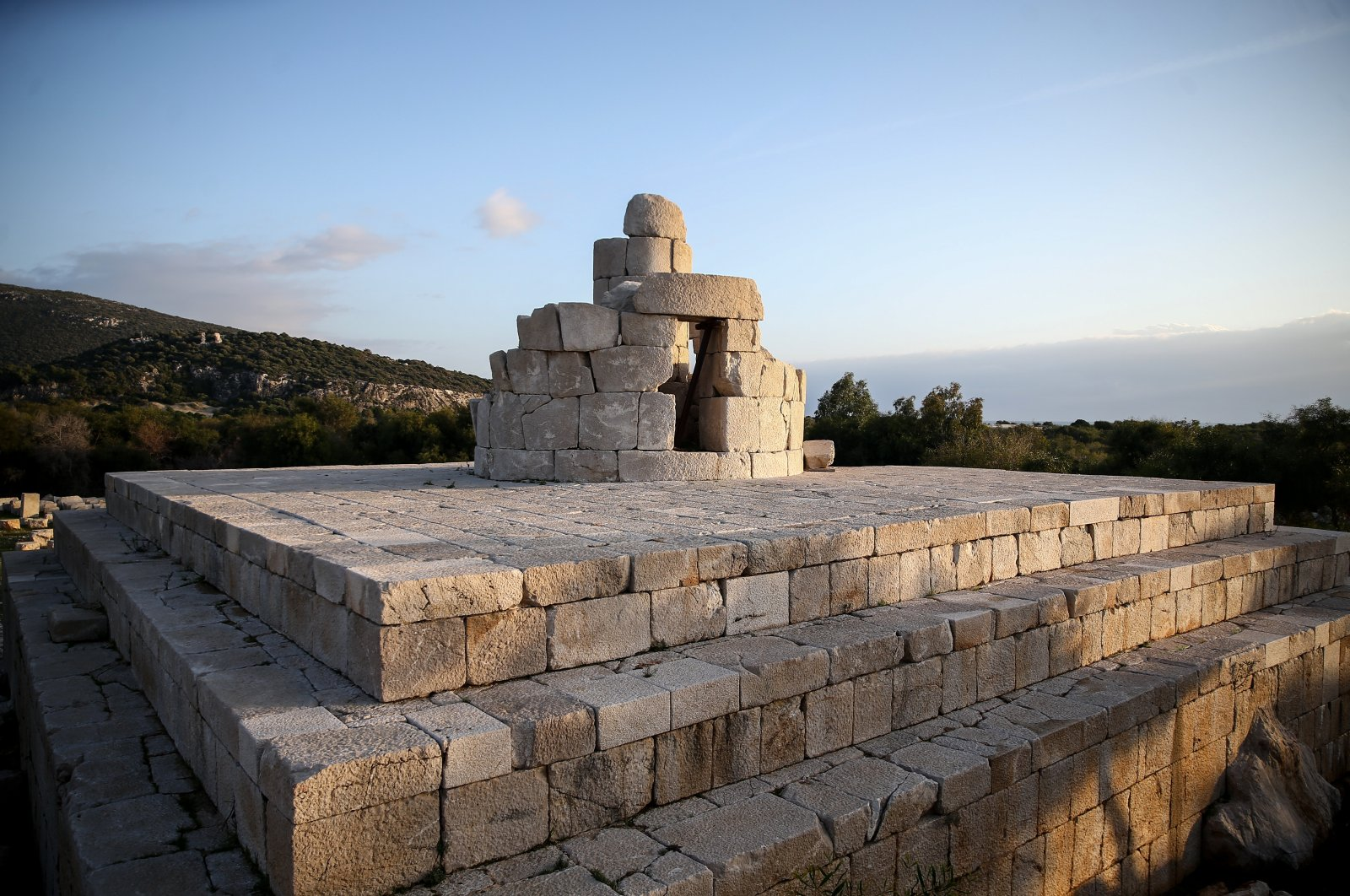 The lighthouse in Patara will be reerected with its original stones, Kaş, Antalya, Turkey. (AA Photo)