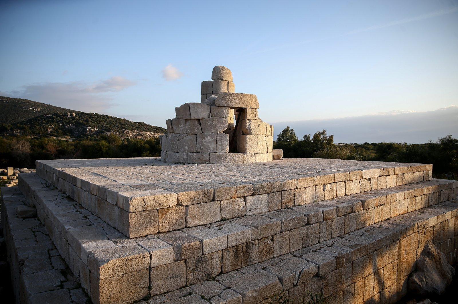 The lighthouse in Patara will be reerected with its original stones, Kaş, Antalya, Turkey. (AA Photo)