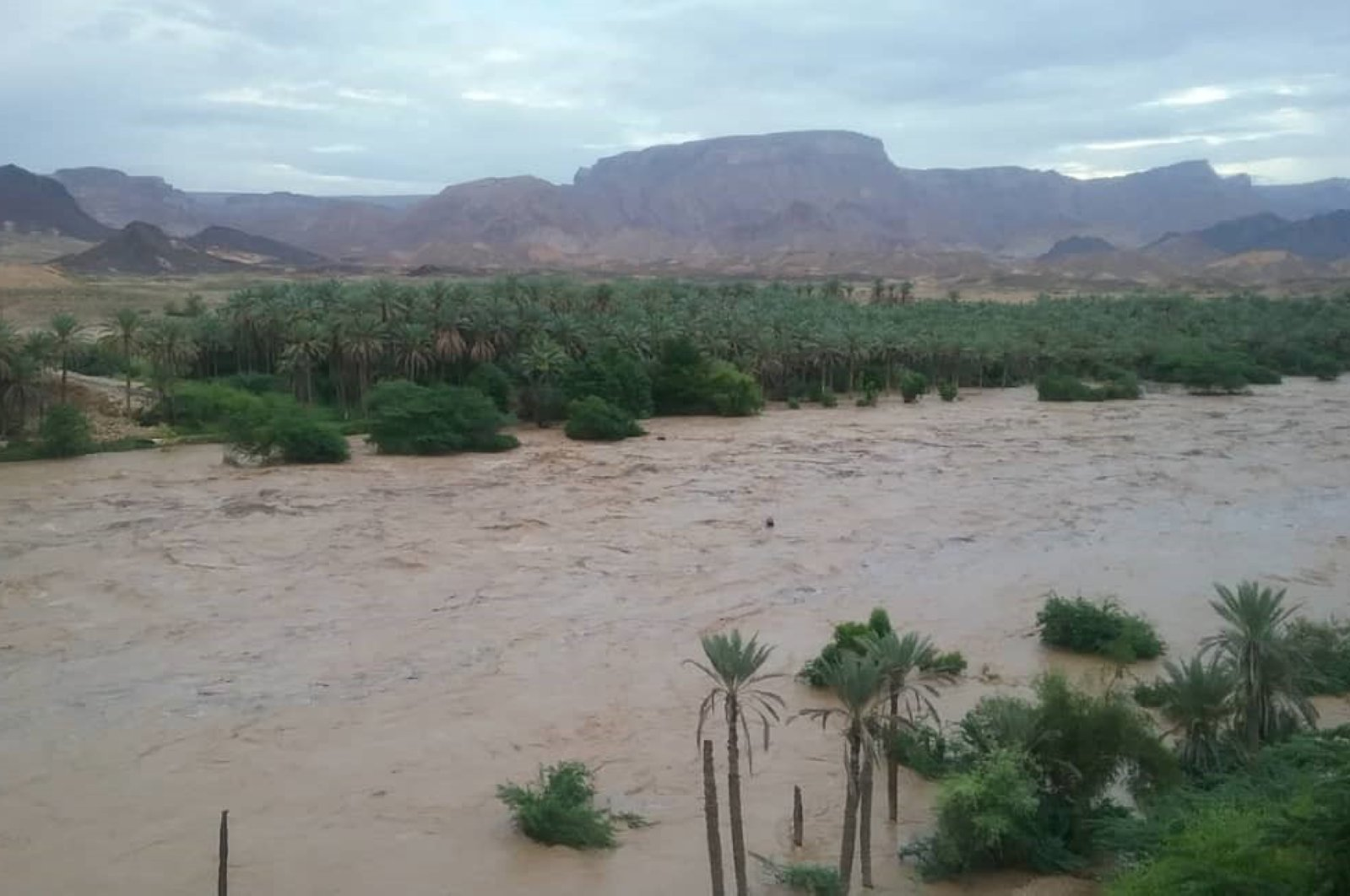 An area flooded from torrential rains brought by Cyclone Nisarga which left more than 10 people dead and dozens injured,  Hadramout province, eastern Yemen, June 3, 2020.  (AFP Photo)